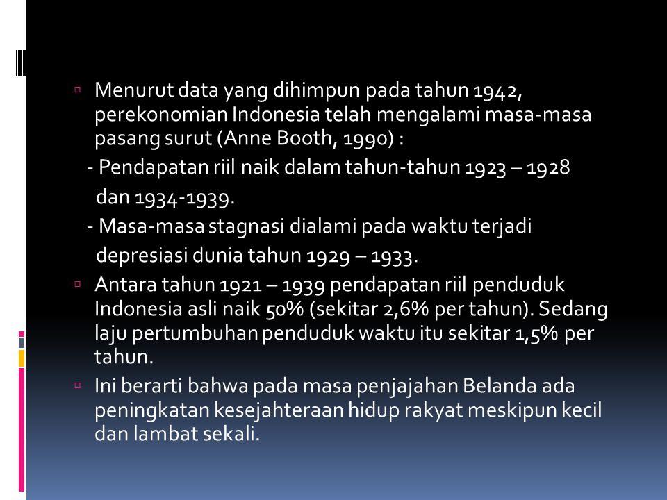 Menurut data yang dihimpun pada tahun 1942, perekonomian Indonesia telah mengalami masa-masa pasang surut (Anne Booth, 1990) :