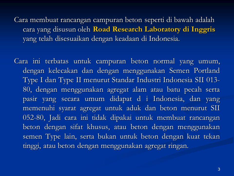 Cara membuat rancangan campuran beton seperti di bawah adalah cara yang disusun oleh Road Research Laboratory di Inggris yang telah disesuaikan dengan keadaan di Indonesia.