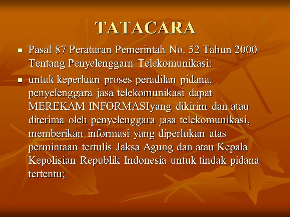 TATACARA Pasal 87 Peraturan Pemerintah No. 52 Tahun 2000 Tentang Penyelenggarn Telekomunikasi: