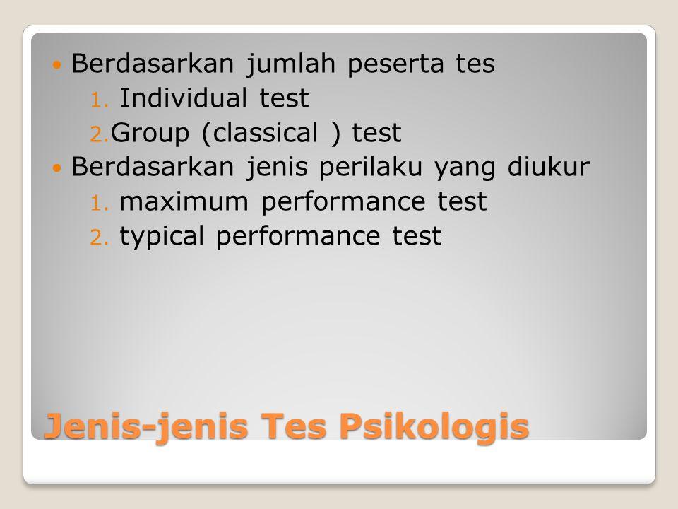 Jenis-jenis Tes Psikologis