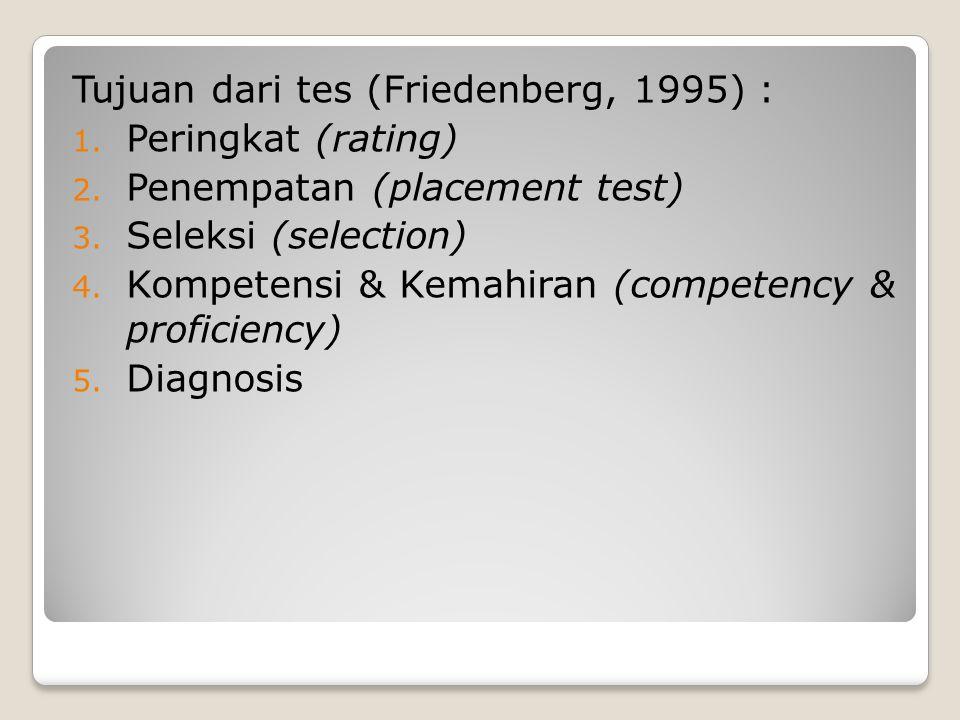 Tujuan dari tes (Friedenberg, 1995) :