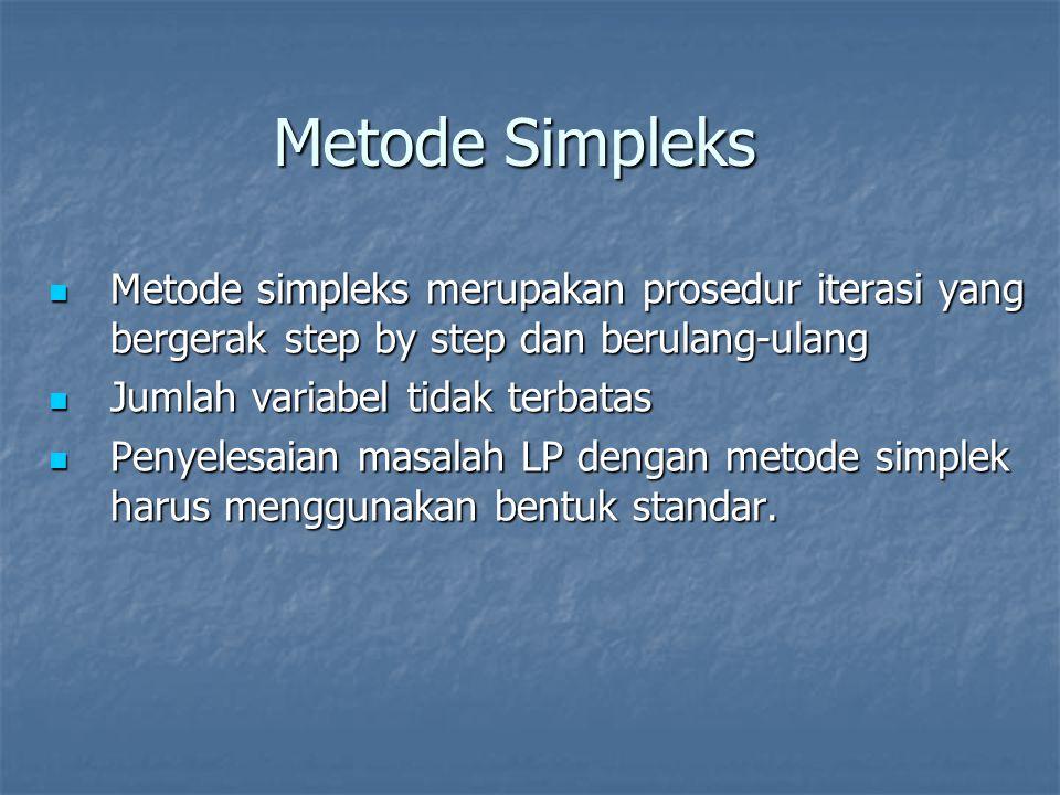 Metode Simpleks Metode simpleks merupakan prosedur iterasi yang bergerak step by step dan berulang-ulang.