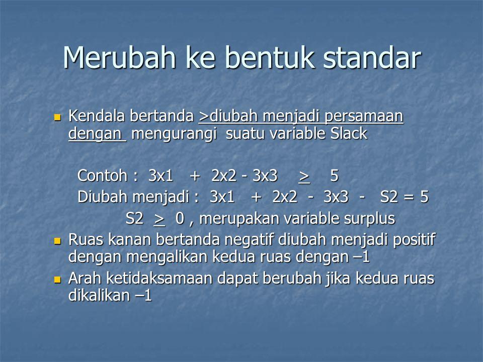 Merubah ke bentuk standar