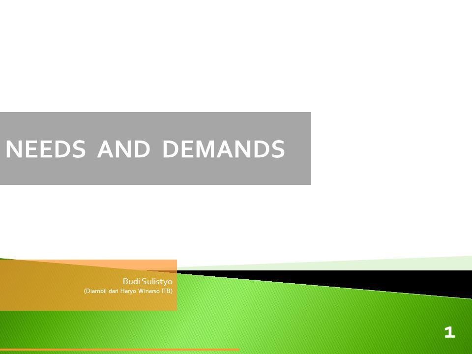 NEEDS AND DEMANDS Budi Sulistyo (Diambil dari Haryo Winarso ITB)
