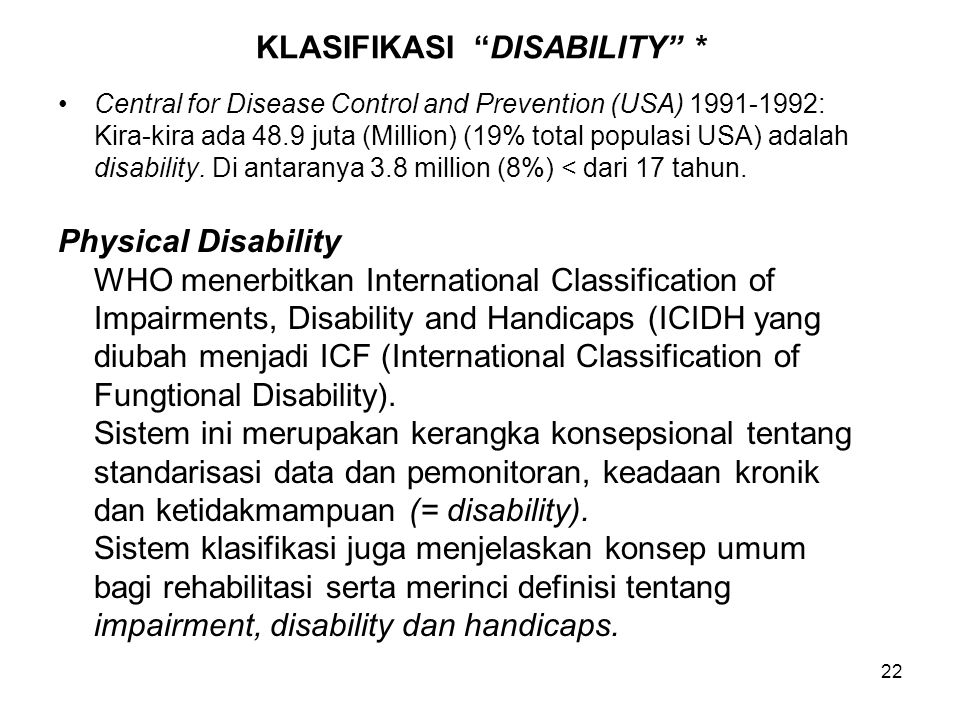 KLASIFIKASI DISABILITY *