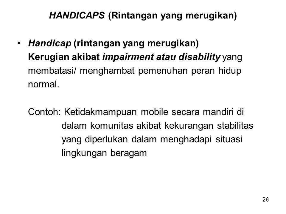 HANDICAPS (Rintangan yang merugikan)