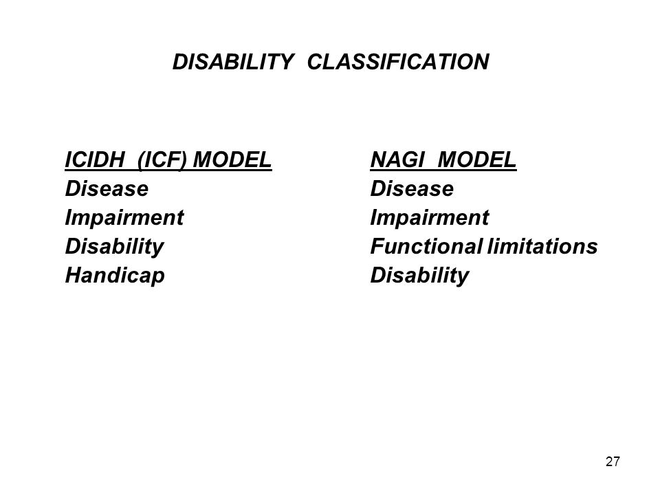DISABILITY CLASSIFICATION