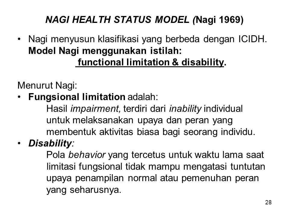 NAGI HEALTH STATUS MODEL (Nagi 1969)