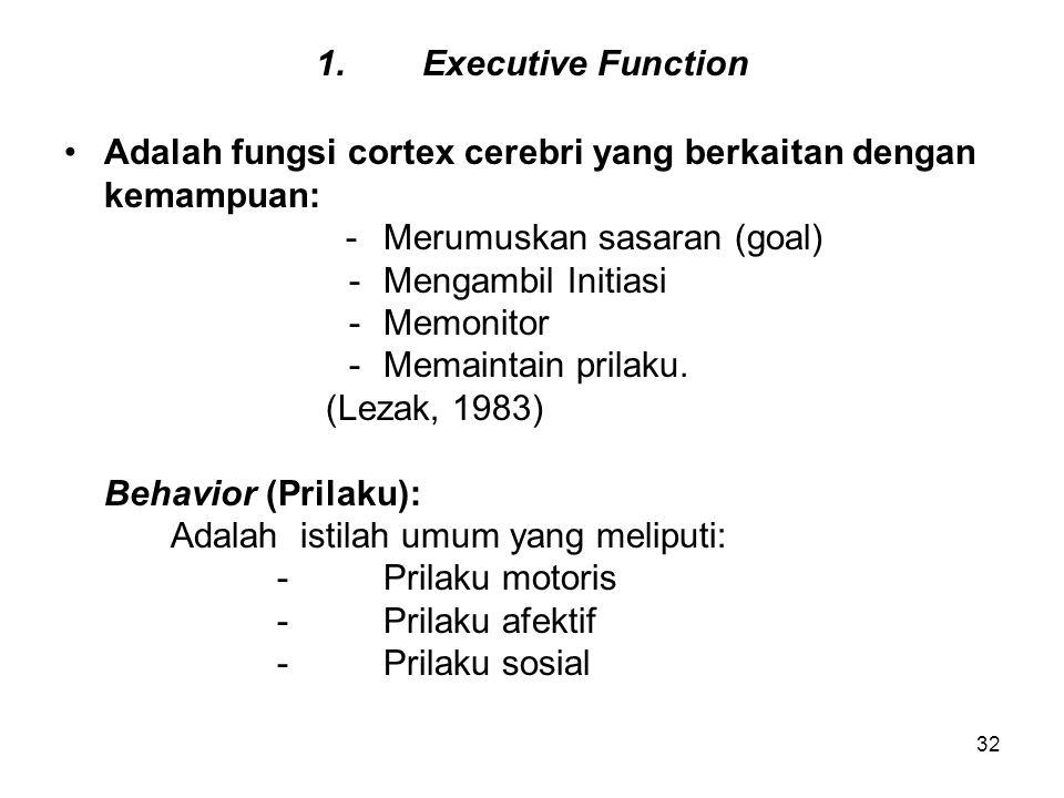 1. Executive Function Adalah fungsi cortex cerebri yang berkaitan dengan. kemampuan: - Merumuskan sasaran (goal)