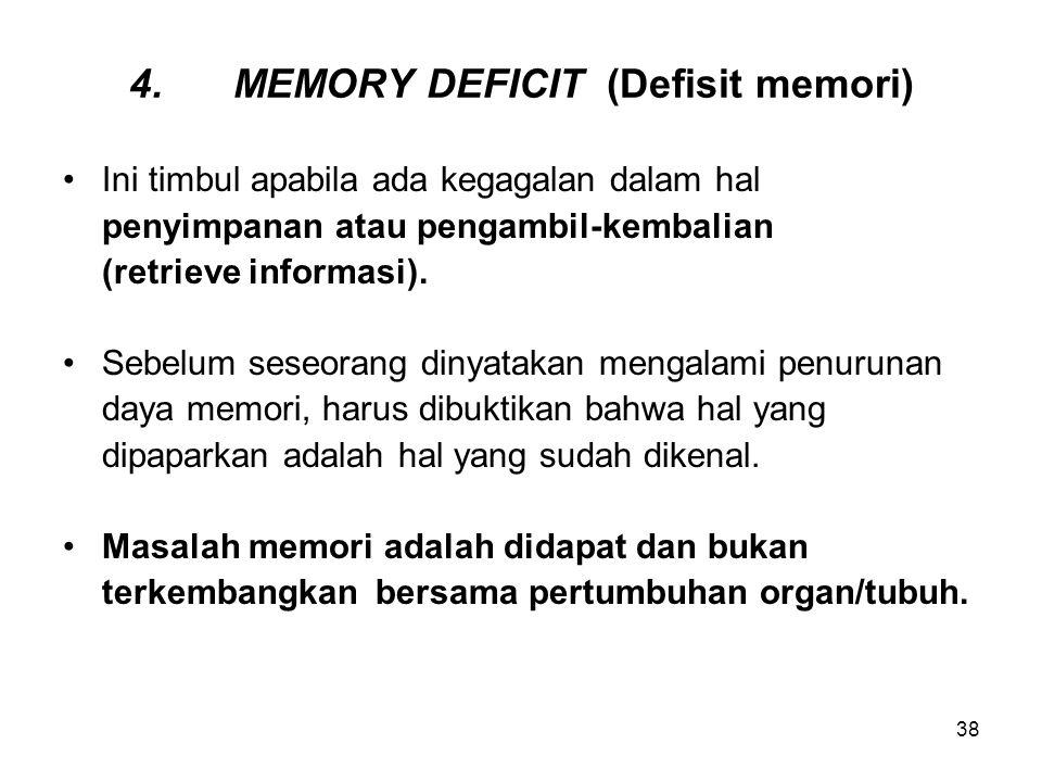 4. MEMORY DEFICIT (Defisit memori)