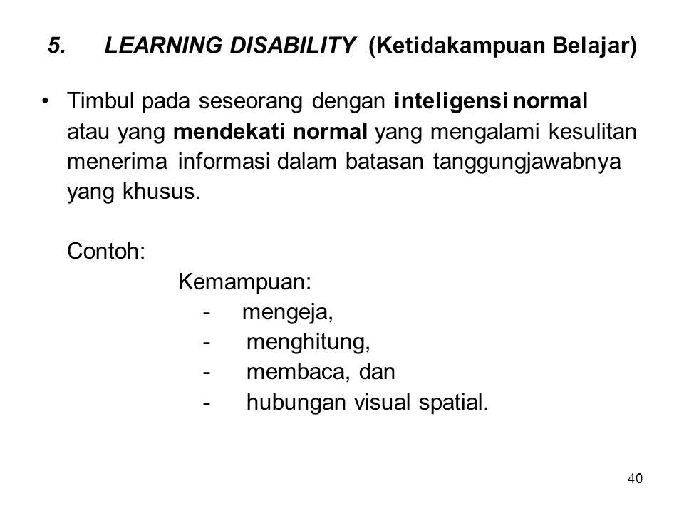 LEARNING DISABILITY (Ketidakampuan Belajar)