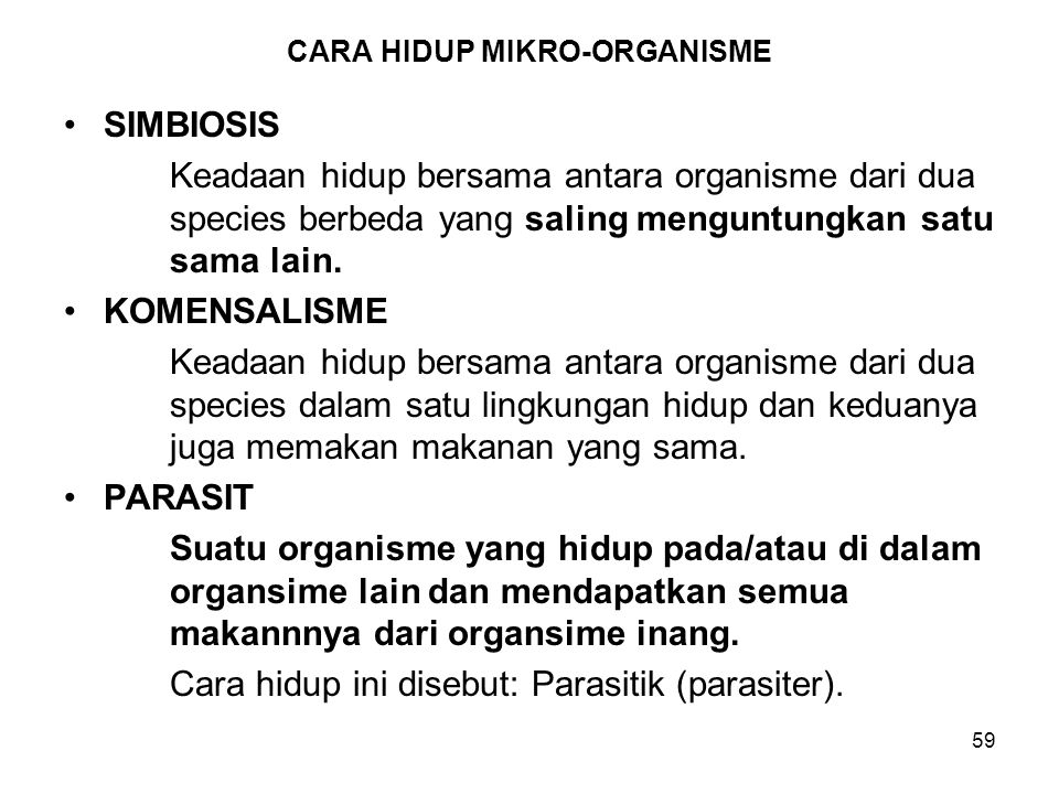 CARA HIDUP MIKRO-ORGANISME