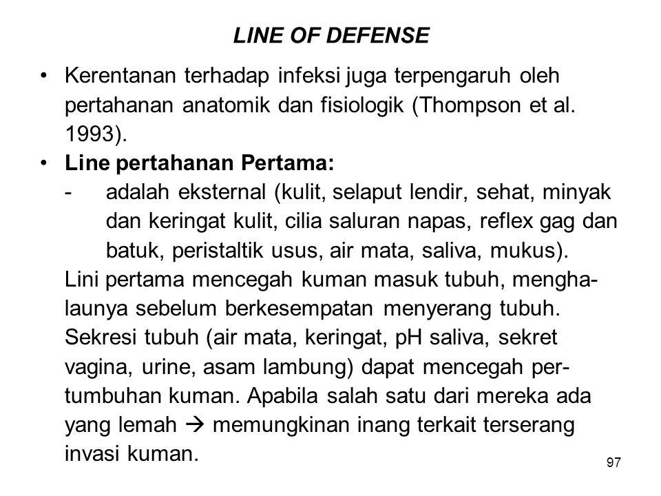 LINE OF DEFENSE Kerentanan terhadap infeksi juga terpengaruh oleh. pertahanan anatomik dan fisiologik (Thompson et al.