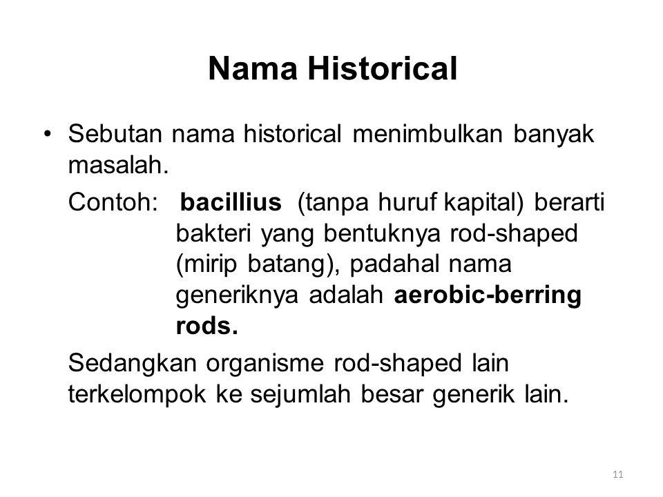 Nama Historical Sebutan nama historical menimbulkan banyak masalah.