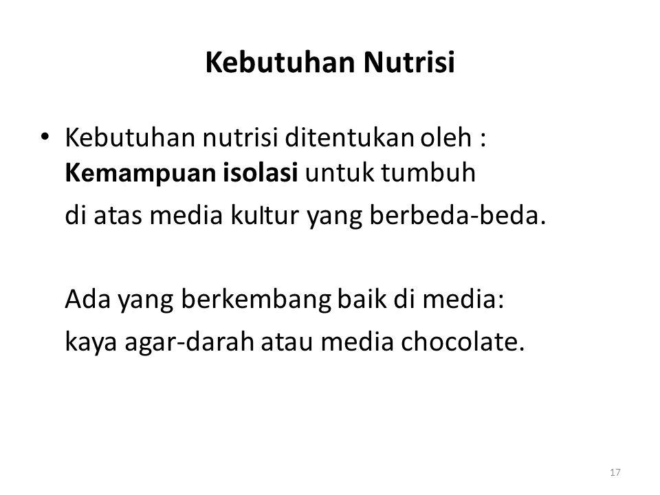 Kebutuhan Nutrisi Kebutuhan nutrisi ditentukan oleh : Kemampuan isolasi untuk tumbuh. di atas media kultur yang berbeda-beda.