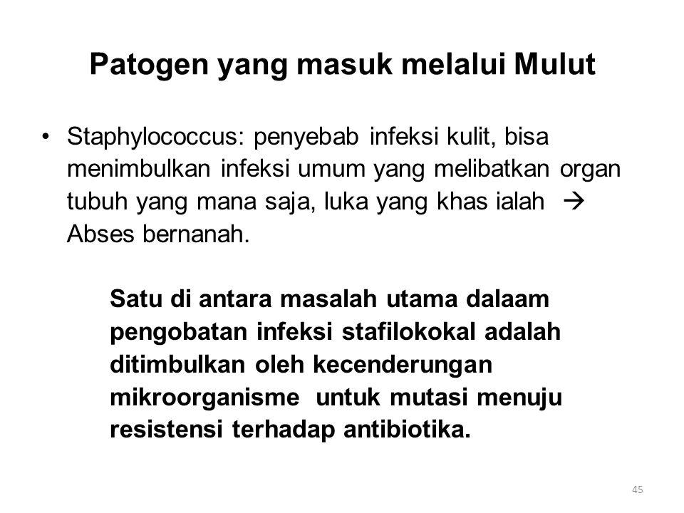 Patogen yang masuk melalui Mulut