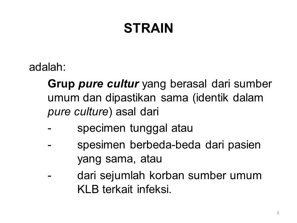 STRAIN adalah: Grup pure cultur yang berasal dari sumber umum dan dipastikan sama (identik dalam pure culture) asal dari.