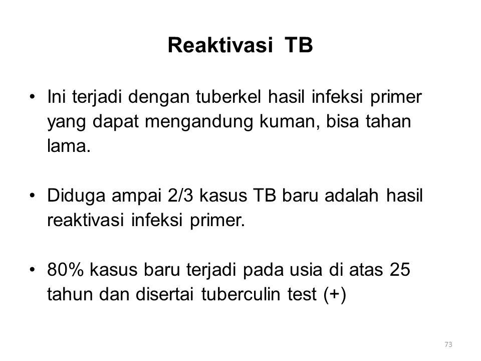 Reaktivasi TB Ini terjadi dengan tuberkel hasil infeksi primer