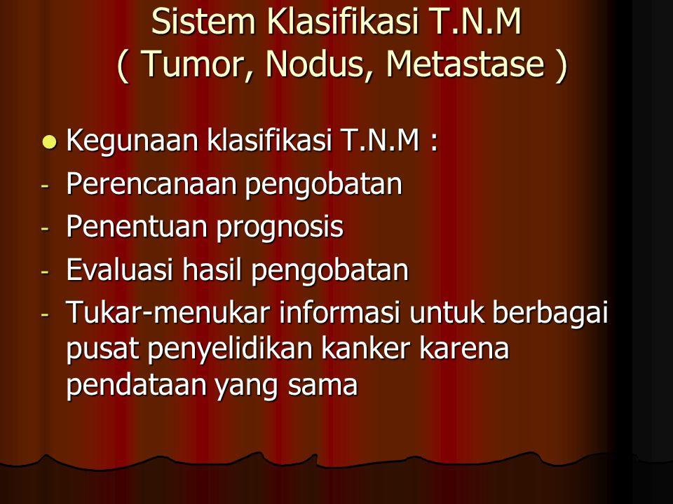 Sistem Klasifikasi T.N.M ( Tumor, Nodus, Metastase )