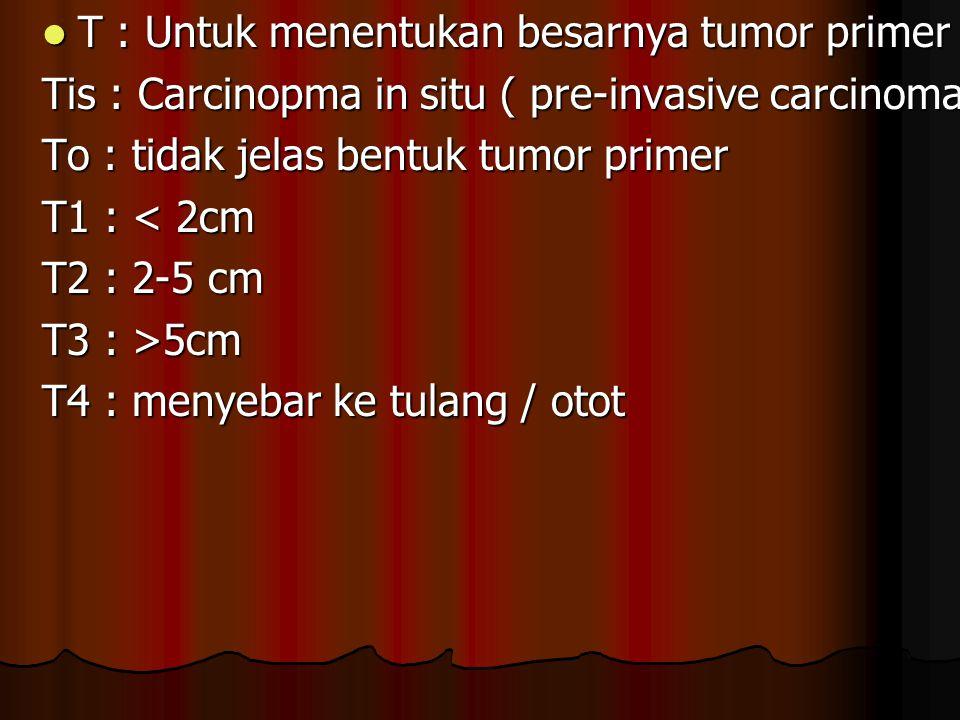 T : Untuk menentukan besarnya tumor primer