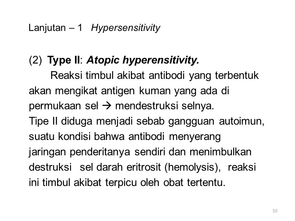 Lanjutan – 1 Hypersensitivity