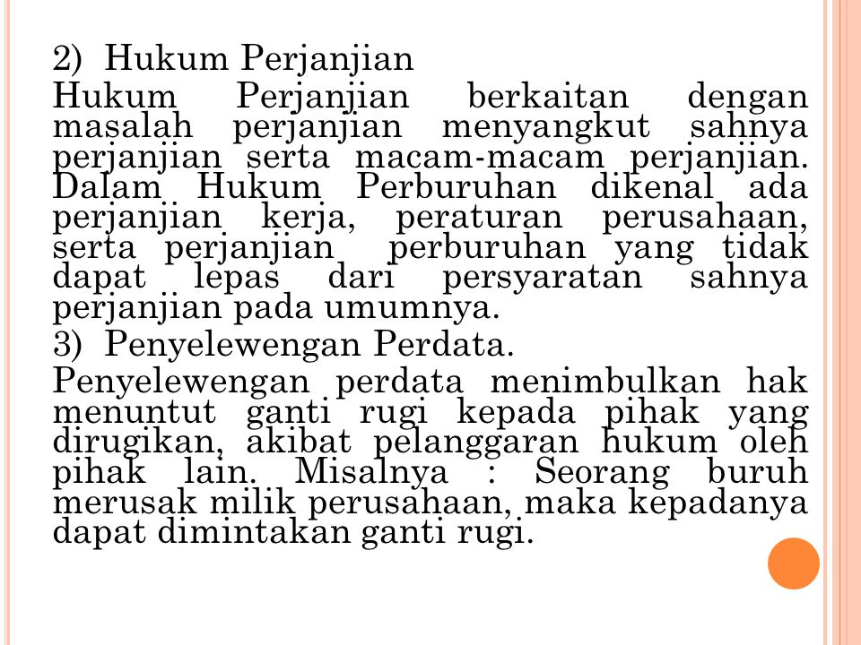 2) Hukum Perjanjian