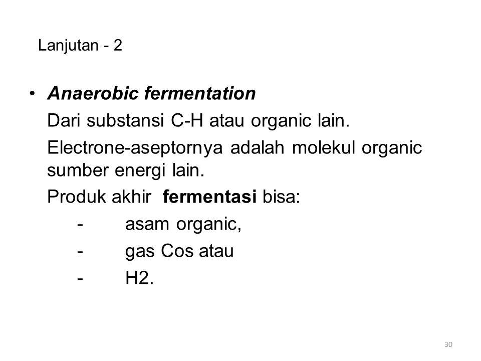 Anaerobic fermentation Dari substansi C-H atau organic lain.