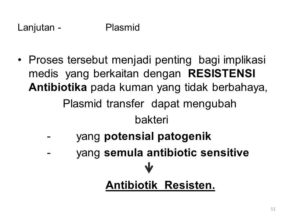 Plasmid transfer dapat mengubah bakteri - yang potensial patogenik