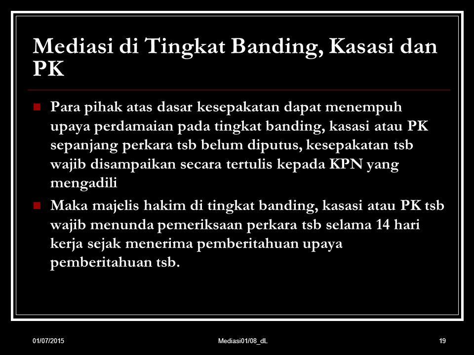 Mediasi di Tingkat Banding, Kasasi dan PK