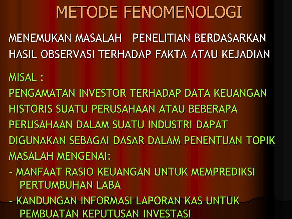 METODE FENOMENOLOGI MENEMUKAN MASALAH PENELITIAN BERDASARKAN