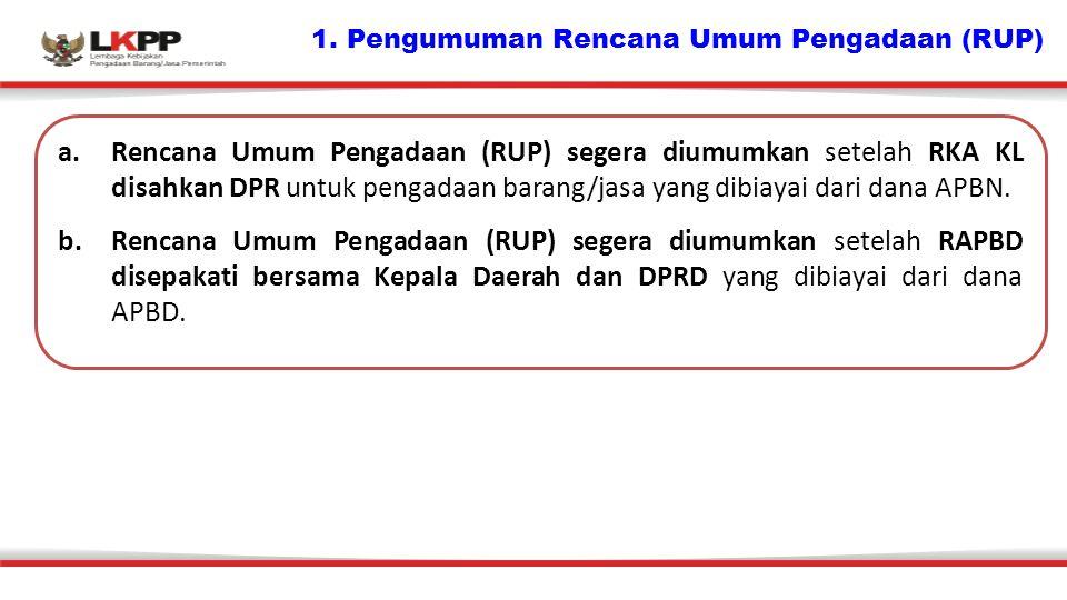 1. Pengumuman Rencana Umum Pengadaan (RUP)