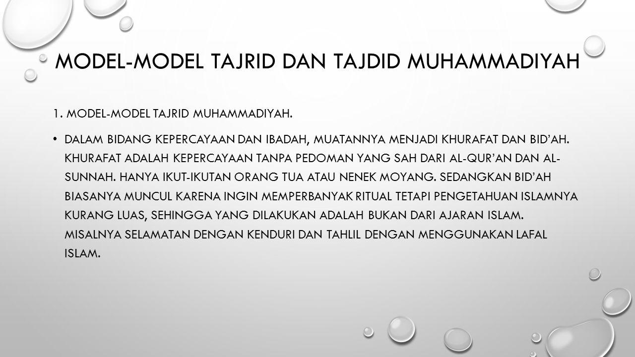 Model-model Tajrid dan Tajdid Muhammadiyah