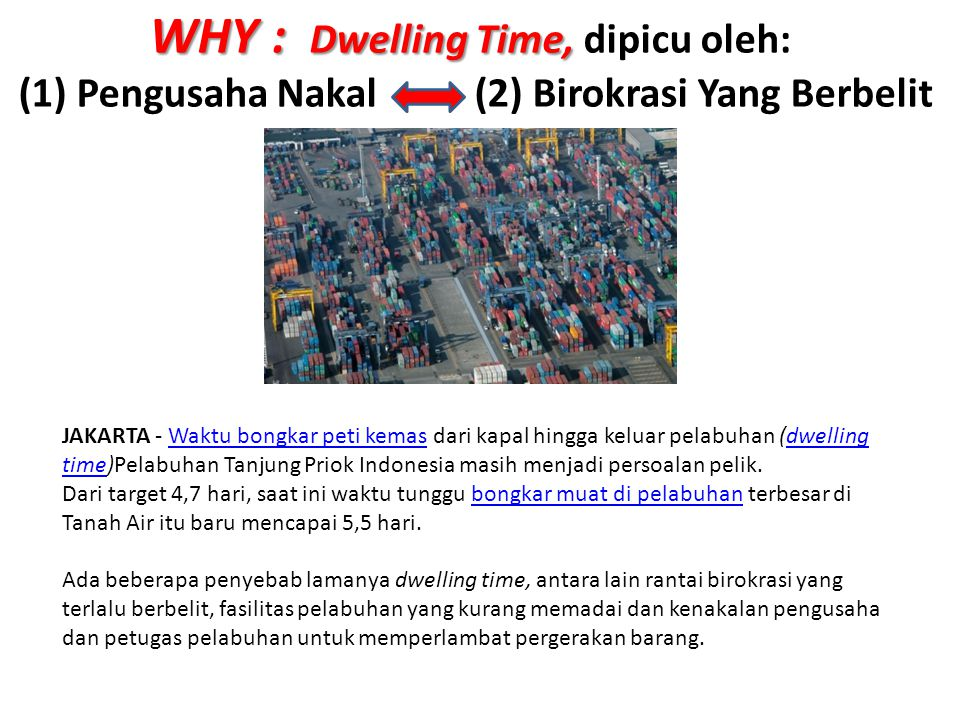 WHY : Dwelling Time, dipicu oleh:
