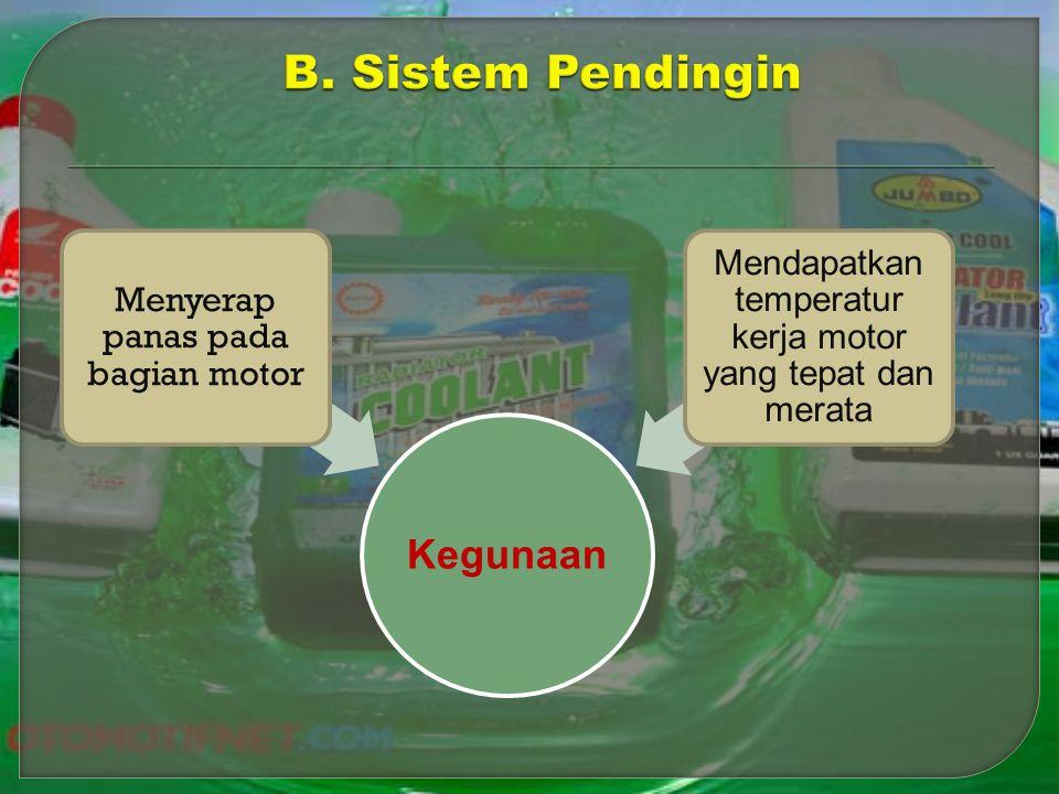 B. Sistem Pendingin Kegunaan Menyerap panas pada bagian motor