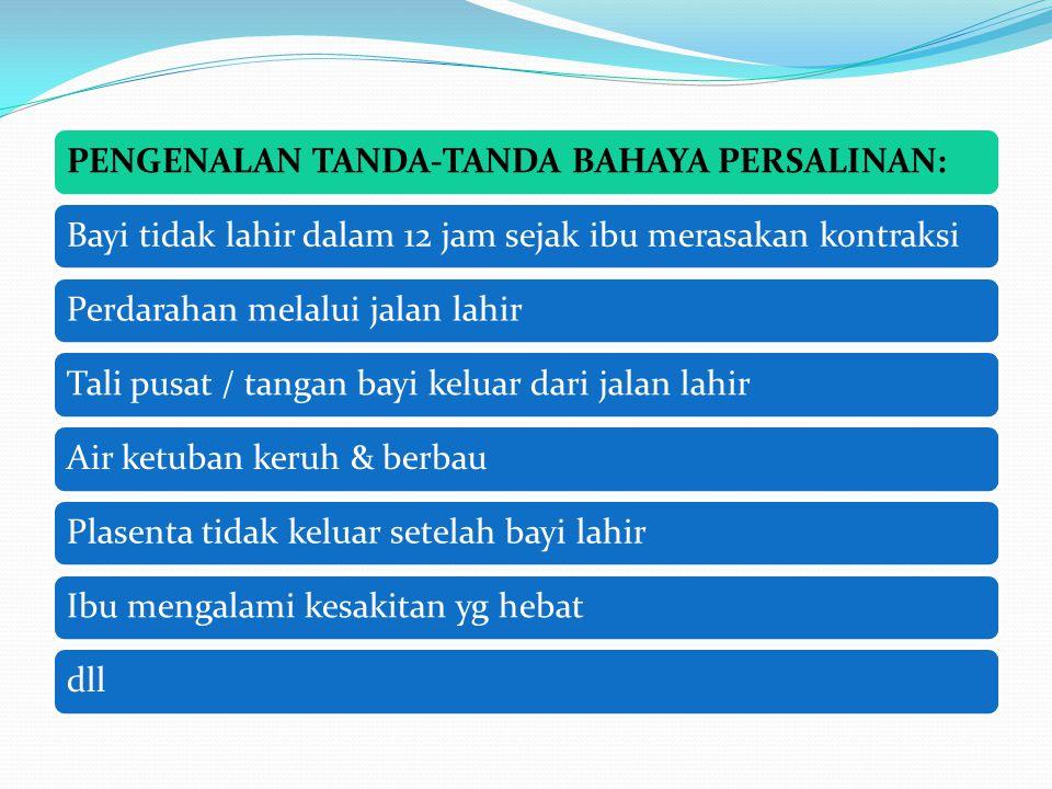 PENGENALAN TANDA-TANDA BAHAYA PERSALINAN: