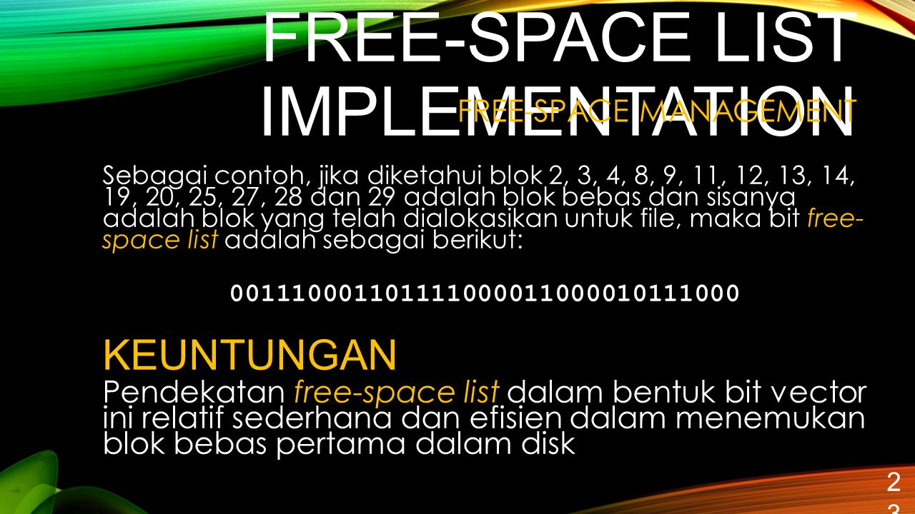 FREE-SPACE LIST IMPLEMENTATION