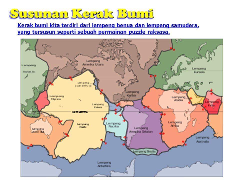 Susunan Kerak Bumi Kerak bumi kita terdiri dari lempeng benua dan lempeng samudera, yang tersusun seperti sebuah permainan puzzle raksasa.