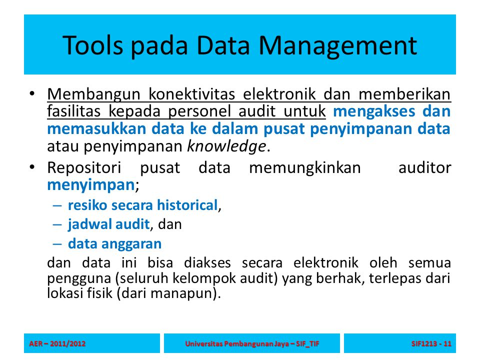 Tools pada Data Management