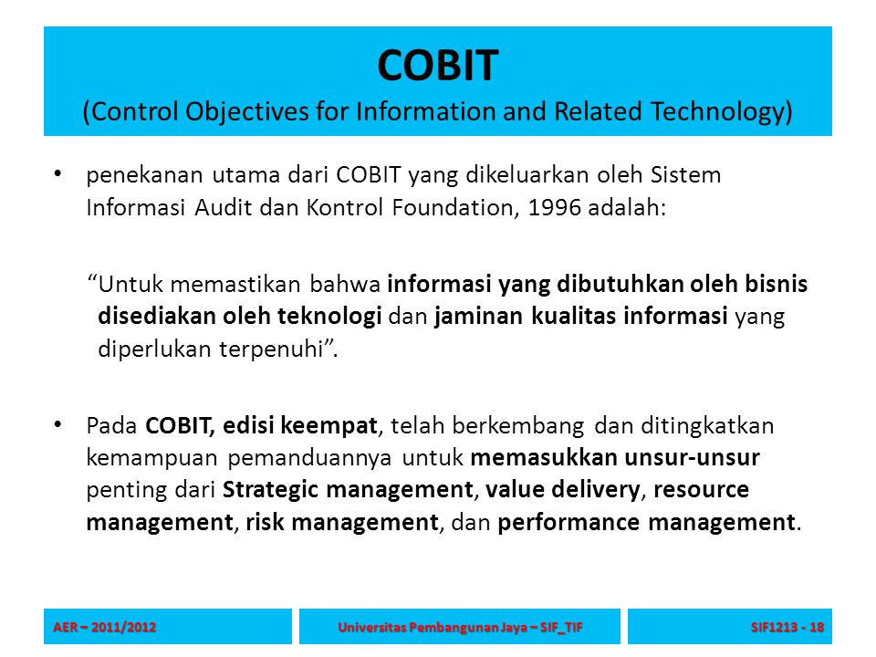 COBIT (Control Objectives for Information and Related Technology)
