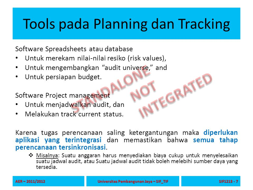Tools pada Planning dan Tracking