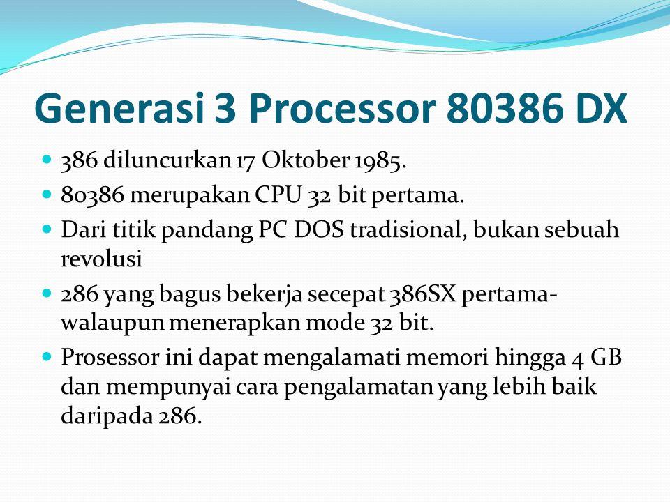 Generasi 3 Processor 80386 DX 386 diluncurkan 17 Oktober 1985.