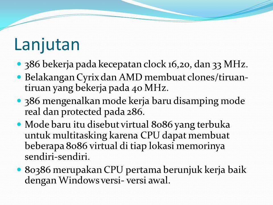 Lanjutan 386 bekerja pada kecepatan clock 16,20, dan 33 MHz.