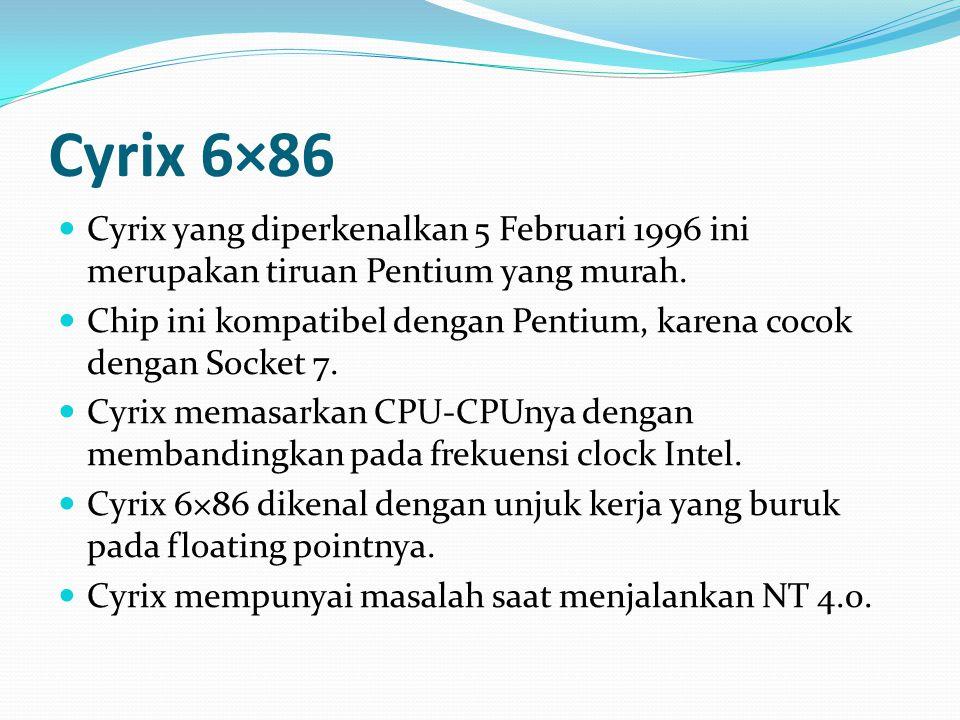 Cyrix 6×86 Cyrix yang diperkenalkan 5 Februari 1996 ini merupakan tiruan Pentium yang murah.