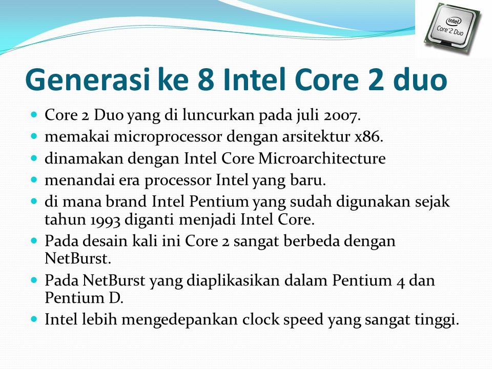 Generasi ke 8 Intel Core 2 duo