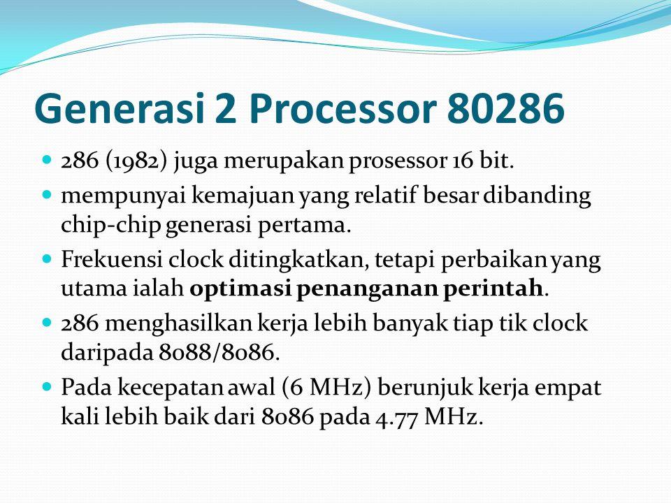 Generasi 2 Processor 80286 286 (1982) juga merupakan prosessor 16 bit.