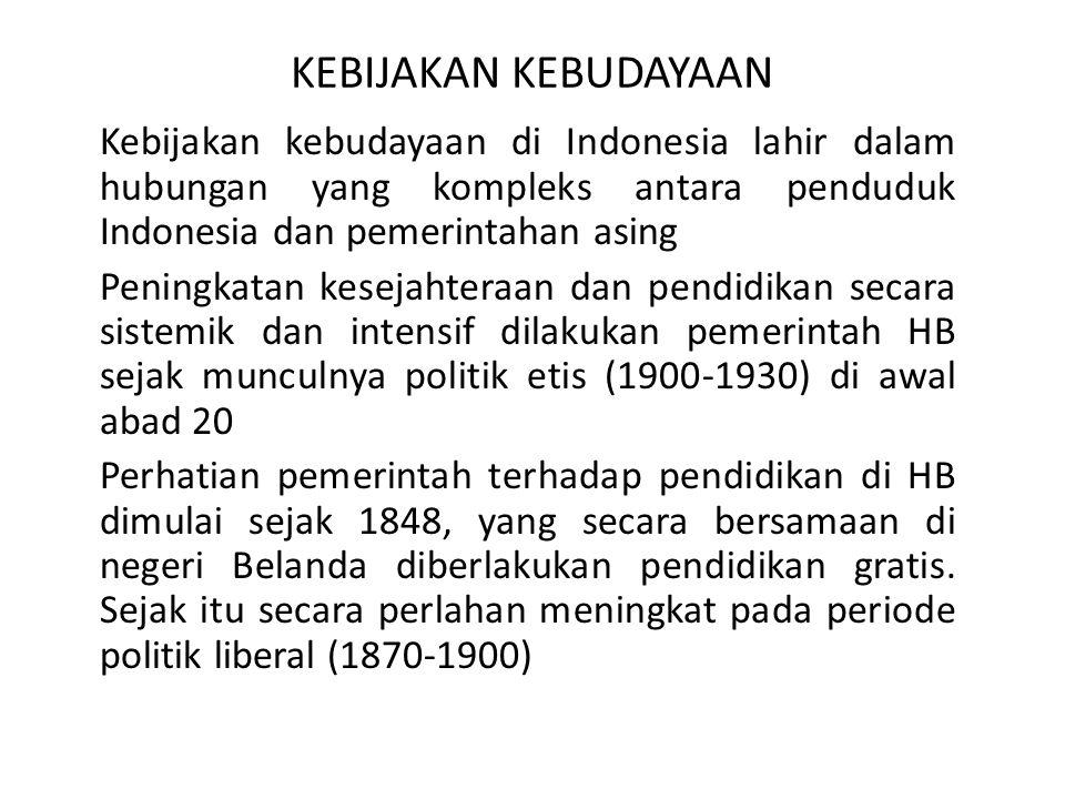 KEBIJAKAN KEBUDAYAAN Kebijakan kebudayaan di Indonesia lahir dalam hubungan yang kompleks antara penduduk Indonesia dan pemerintahan asing.