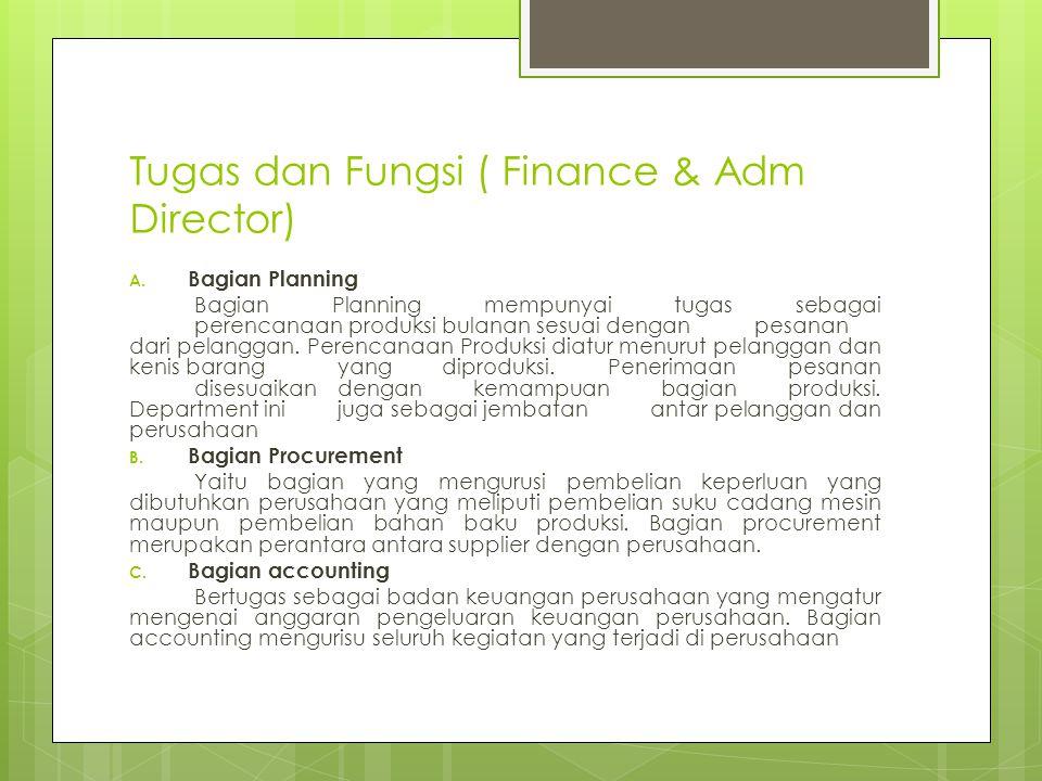 Tugas dan Fungsi ( Finance & Adm Director)