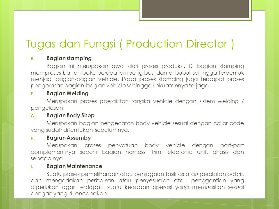 Tugas dan Fungsi ( Production Director )