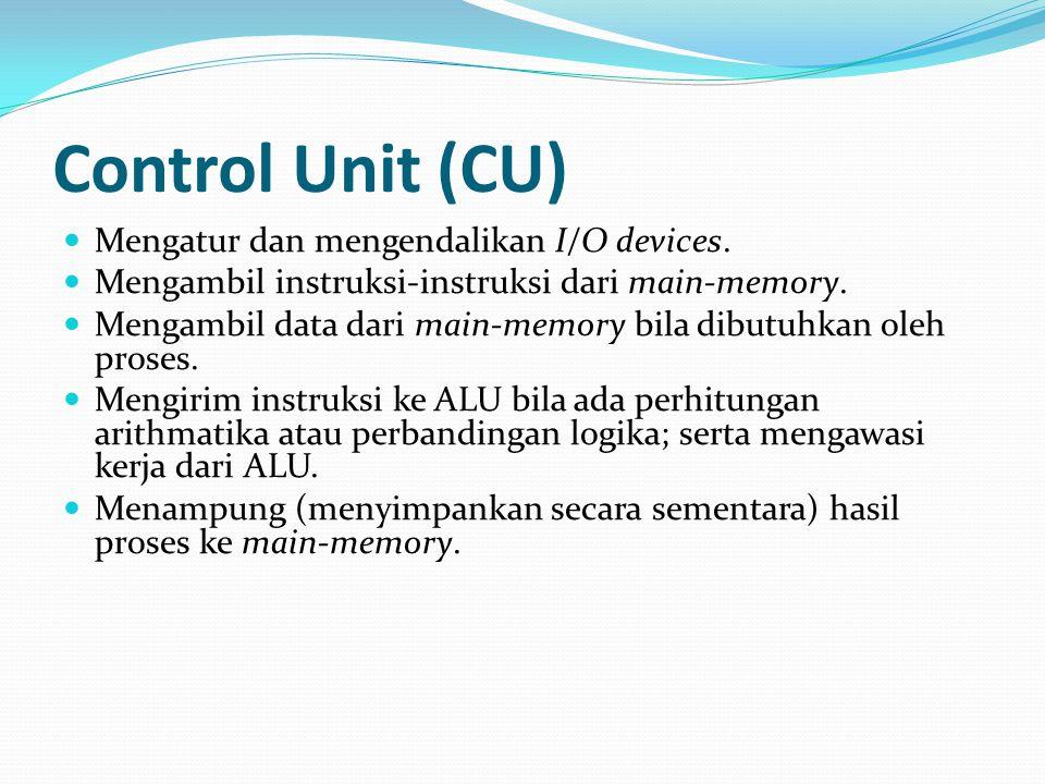 Control Unit (CU) Mengatur dan mengendalikan I/O devices.