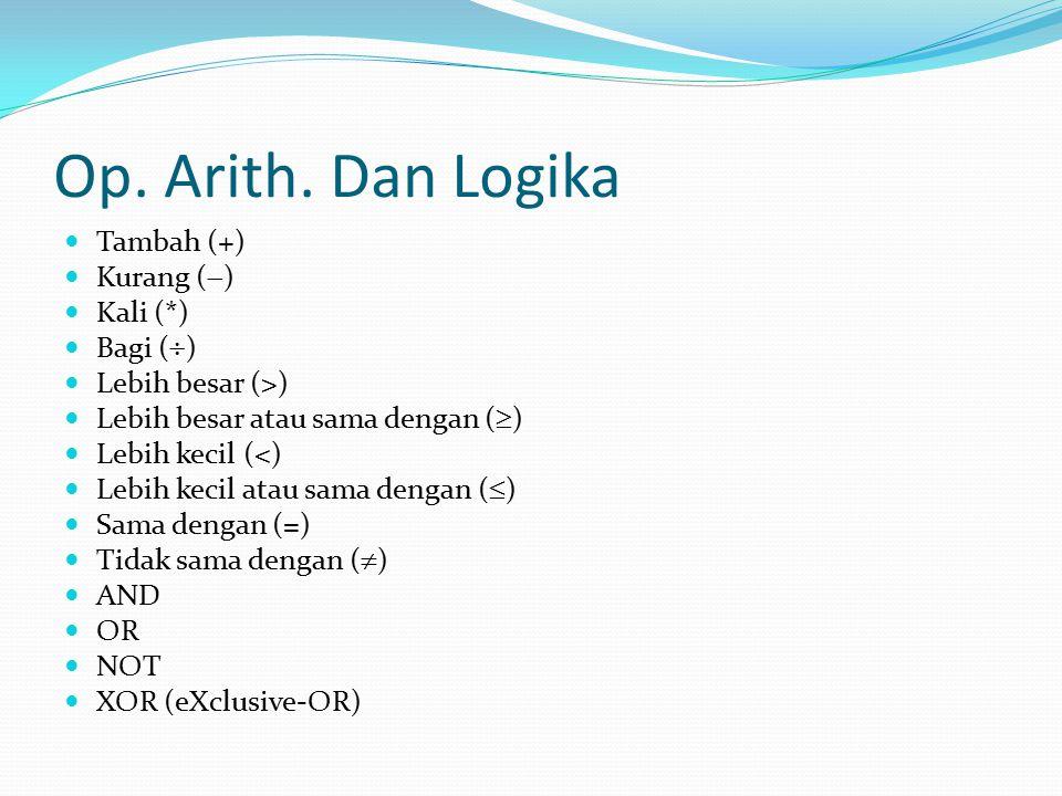 Op. Arith. Dan Logika Tambah (+) Kurang () Kali (*) Bagi ()
